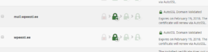 SSL Status cPanel sertifikaatide vaade