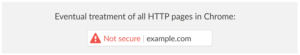 Google Chrome - Ebaturvaline koduleht / e-pood (not-secure) graafiline näidis