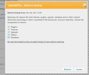 Updraftplus PRO migration - Kodulehe taastamine (restore)